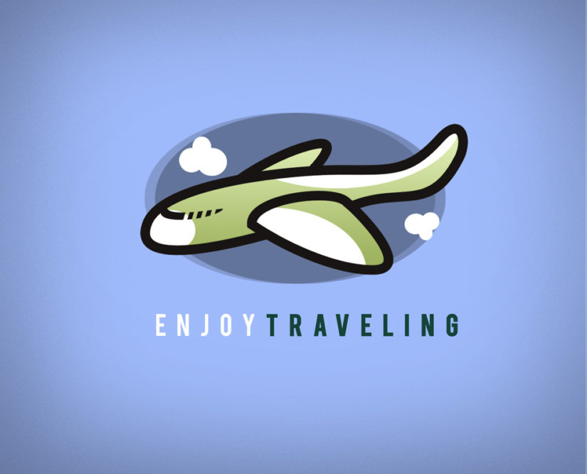 airplane travel free logo template